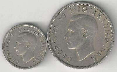 2 OLDER COINS from GREAT BRITAIN - 6 PENCE & 2 SHILLINGS (BOTH DATING 1948)