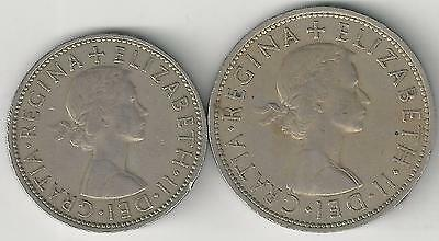 2 DIFFERENT COINS from GREAT BRITAIN - 2 SHILLINGS & HALF CROWN (BOTH 1961)