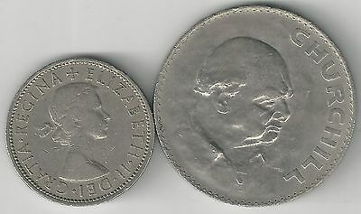 2 DIFFERENT COINS from GREAT BRITAIN - 2 SHILLING & CHURCHILL CROWN (BOTH 1965)