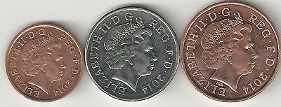 3 NICE COINS from GREAT BRITAIN - 1, 2 & 10 PENCE (ALL DATING 2014)