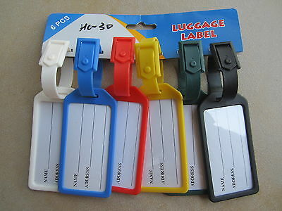6 x LARGE SUITCASE LUGGAGE TAGS STRAPS LABELS WITH NAME ADDRESS, 100MM X 50MM
