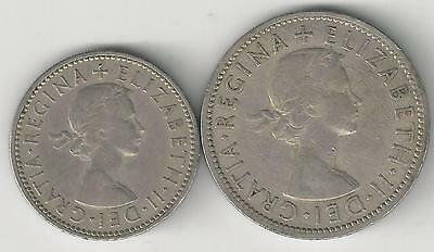 2 OLDER COINS from GREAT BRITAIN - 1 & 2 SHILLINGS (BOTH DATING 1955)
