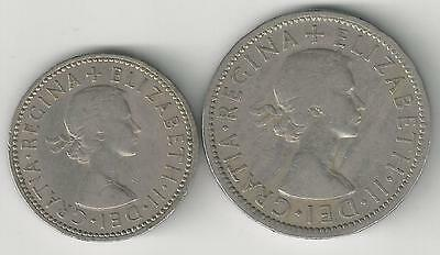 2 OLDER COINS from GREAT BRITAIN - 1 & 2 SHILLINGS (BOTH DATING 1956)