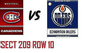 1-2 Tiks Edmonton Oilers Vs Montreal Canadiens Nov 13 Rogers Place Sect 209 R10