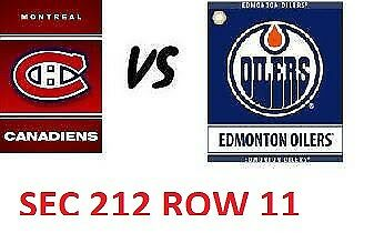 1-2 Tiks Edmonton Oilers Vs Montreal Canadiens Nov 13 Rogers Place Sect 212 R11