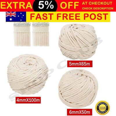 4/5/6mm Macrame Rope Natural Beige Cotton Twisted Cord Artisan Hand Craft New