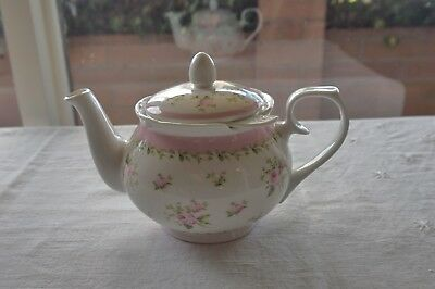 Vintage Ashdene Bone China Teapot & Infuser Pink Roses Chris Chun 2010 High Tea