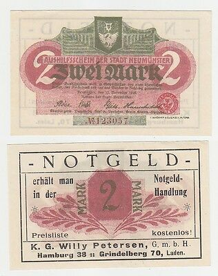 2 Mark Notgeld Notgeldhandlung Willy Petersen Hamburg Grindelberg 70 !! (116229)