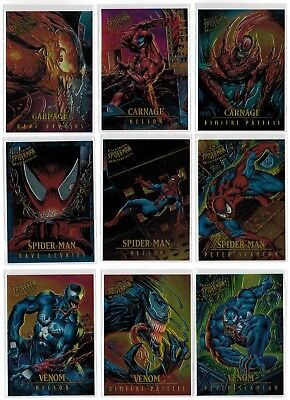 1995 Spider-Man Fleer Ultra Marvel Masterpieces Complete 9 Card Insert Chase Set