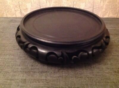 Clock Dome Base Ebonised Carved Fretwork Suit Glass To 150mm Diam 40mm High
