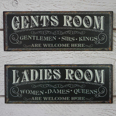 Vintage Black Metal Ladies Gents Room Plaque Cafe Pub WC Toilet Loo Tin Sign