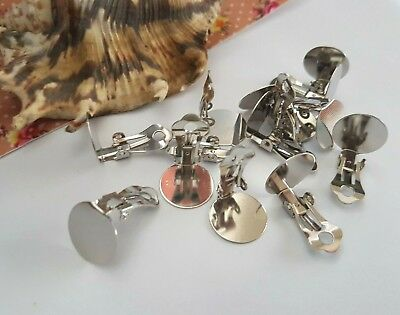 10mm or 12mm SILVER COLOR CLIP ON EARRING COMPONENTS, FLAT BACK GLUE ON, JEWELRY