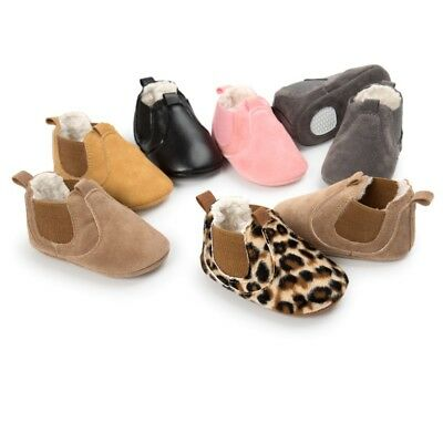 UK Toddler Newborn Baby Kids Boy Girl Crib Shoes Soft Soled Boots Booties