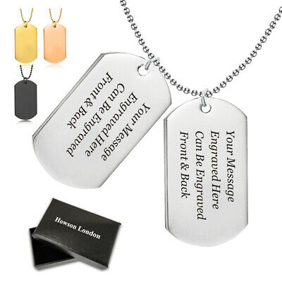 Personalised Christmas Gift Army Dog Tags 2 ID Tags Pendant Necklace, Engraved