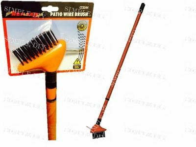 Telescopic Weed Brush Extendable Patio Block Paving Scraper Wire Brush Tool Uk