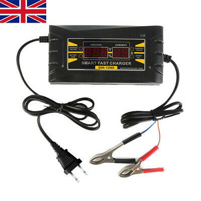 12V 6A Smart Car Motorcycle Battery Charger Power LCD Display Fast Lead-acid EU