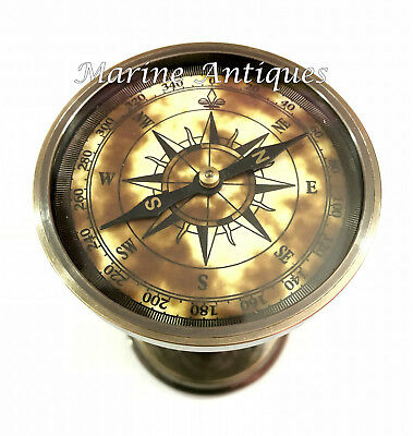 Antique Maritime Brass Hourglass Vintage Nautical Decorative Compass Sand Timer