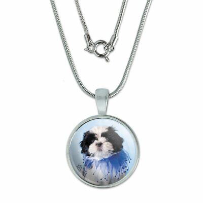 "Shih Tzu Puppy Dog Jester Blue 0.75"" Pendant with Sterling Silver Plated Chain"