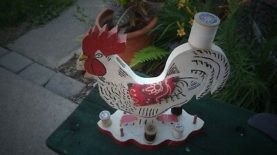 Vintage Folk Art Rooster Wood Paint Spool Holder + pin cushions + Scissors Slot