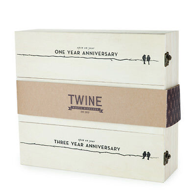 Boulevard Newlywed's Anniversary Wooden Wine Box by Twine Bridal or Wedding GIFT