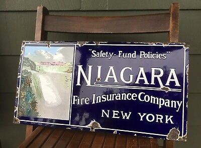 Early c.1900's Niagara Fire Insurance of New York porcelain sign