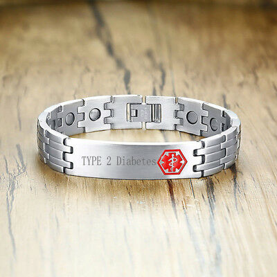 Personalize Men Health Energy Magnet Therapy Bracelet Medical Alert ID Engraving