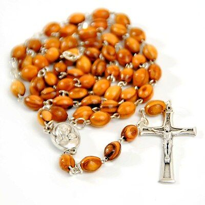 Olive Wood Rosary Beaded Cross with water from Holy Land Crucifix