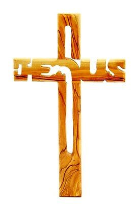 "8"" Olive Wood Catholic Cross Wall Hanging Crucifix Jerusalem"