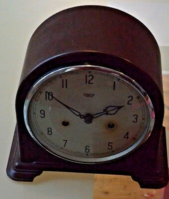Smiths Enfield Antique Art Deco Bakelite Striking Mantel Mantle Clock