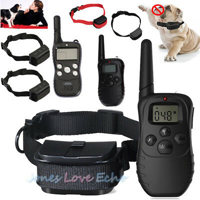 Electric Dog Training Shock Collar 1000 Feet Waterproof Rechargeable For 1-3 Dog
