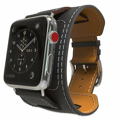 Genuine Leather Apple Watch Strap Band Series 3 2 1 / 42mm 38mm Wristband Black