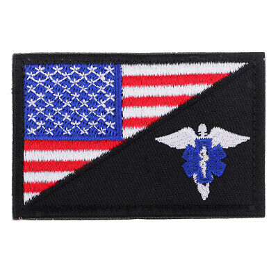 Star of Life USA American Flag Morale Embroidered Hook and Loop Patch Appliques