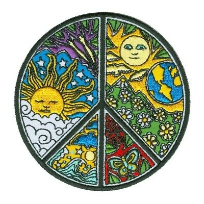 Dan Morris Psychedelic Peace Sign Patch Hippie Sun Embroidered Iron On Applique