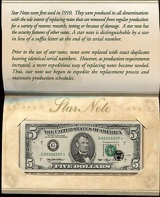 1993 $5 United States Star Note Crisp Uncirculated Condition -BEP Low 5 digit