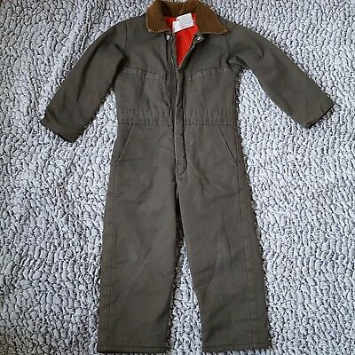 VTG Boys Key Imperial Coveralls Size 6 Youth Insulated Green Workwear Overalls