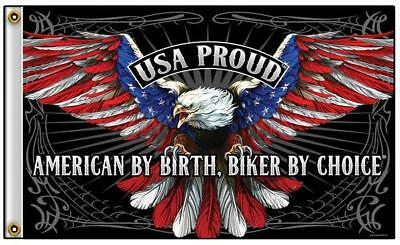 87d7a0612c2 American By Birth Biker By Choice Eagle 3 X 5 Motorcycle Deluxe Flag  771  New
