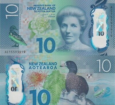 New Zealand 10 Dollars (2015) - Katherine Sheppard/Ducks/p192 UNC