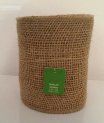"Black Scroll and Tan Burlap JUTE RIBBON Roll,15 FT x 5.5/"" Unwired Finished Edge"