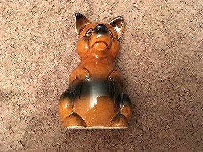 Vintage R Moss Ltd Pottery Brown Pig Moneybox Retro With Original Stopper. (038)
