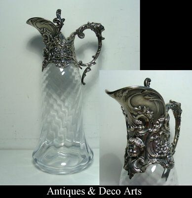 Superb Claret Jug in Crystal with Continental Silver? Mount