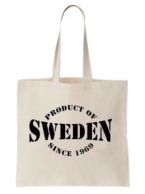 Personalised Sweden Year Birthday Tote Bag Swedish Country Gift Shopper