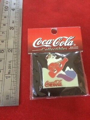 Coca-Cola Polar Bear Riding Coke Bottle Christmas Enamel Vintage New in Package