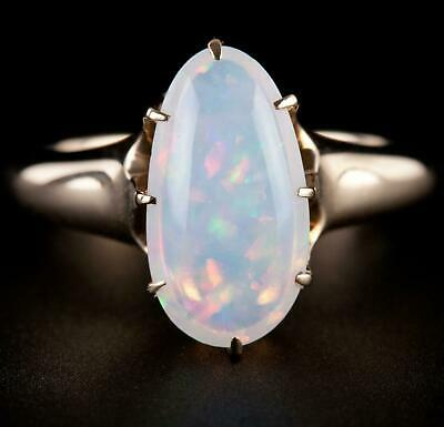Vintage 1940s 14k Yellow Gold Oval Cabochon Cut Jelly Opal Solitaire Ring 2.25ct