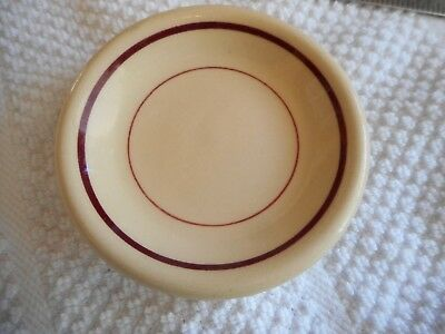 Vintage Restaurant Ware Butter Pat brown & burgandy Bands Decorative Tableware