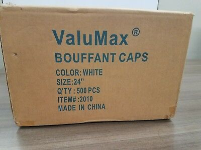 White Bouffant Caps/Hair nets. Case of 500 pcs. Size 24 inch. New