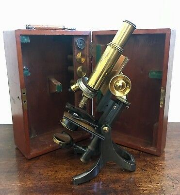 Antique J.Swift & Son Brass Microscope with Lenses in Original Box