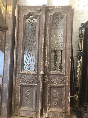 "Old Rustic Doors European Doors With Iron 93 X47"" Total Open"
