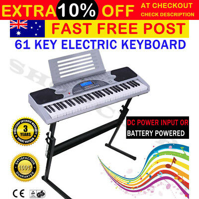 NEW 61 Keys Electronic Piano Keyboard LCD Electric Holder Music Stand Adaptor AU