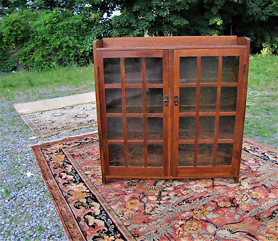 Good Antique Arts & Crafts Gustav Stickley Two Door Bookcase  w5280