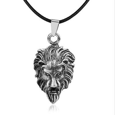 Mens Vintage Cool Charm Tone Stainless Steel Silver Lion's Head Pendant Necklace